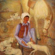 N.U. Shinyaev. Sakmanschitsa (caring for young sheep). 1978