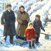 Nikolai Shaulov (1912 - 1982). Lenin and Krupskaya with children. 1966