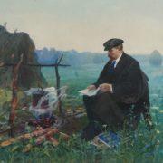 Nikolai Volodin (1913 - 1986). VI Lenin in Razliv. canvas, oil. 1966