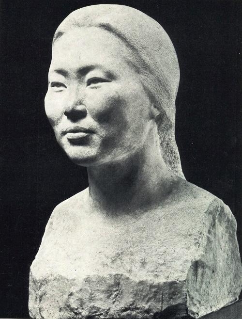 Portrait of a rural teacher RS Dyakonova. 1969, marble. Soviet Yakut sculptor Pyotr Zakharov