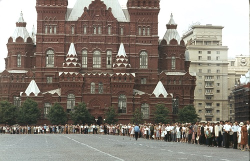 Red Square. History Museum, people standing in a queue to visit the mausoleum