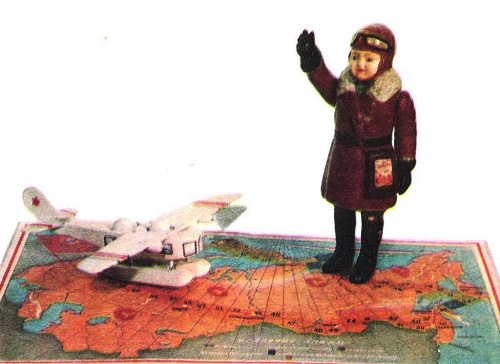 Revolutionary Era First Soviet toys. Pilot. Aircraft. Board Game 'On the way characters'. 1930s