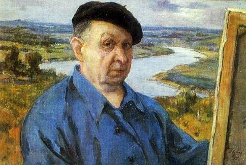 Self portrait. Soviet artist Porphyry Krylov