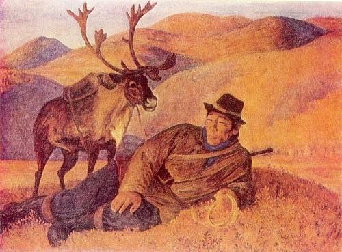 Soviet Yakut painter Afanasy Osipov. Traveler. 1974