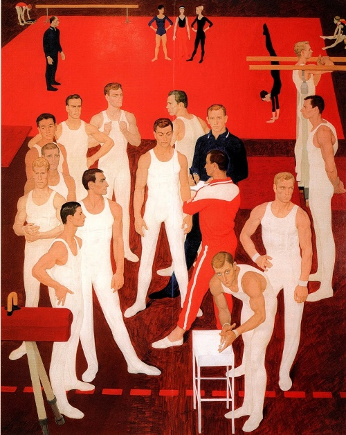 Soviet artist Dmitry Zhilinsky (1927 – 2015). Gymnasts of the USSR. 1962. Tempera on wood. State Russian museum, St. Petersburg
