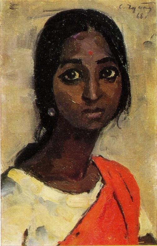 Soviet artist Semyon Chuikov (1902 — 1980). Girl from Madras. 1968. Oil