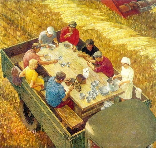 VI Altukhov 1943 grain growers. 1976. Masonite, gesso, tempera