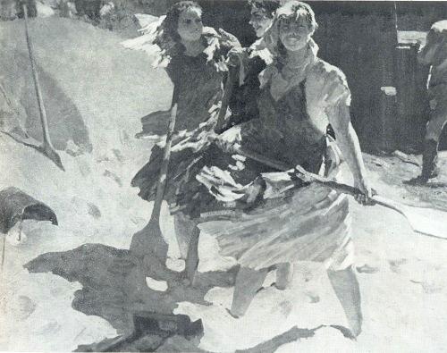 Viktor Kabanov (b. 1924) The virgin lands live. 1961. Oil on canvas