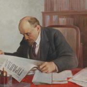 Vsevolod Medvedev (1912-1985). Lenin reading a newspaper 'Pravda'. Oil on canvas. 1965