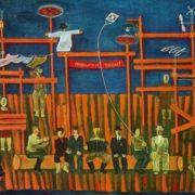 Yu. V. Scheblanov (born in 1950 Rostov-on-Don). Design for staging of Yu, Chernysheva 'Compatriots' (the stories of VM Shukshin). 1975. Oil on cardboard