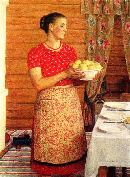 The hostess. 1970. Oil. Soviet artist Yuri Kugach