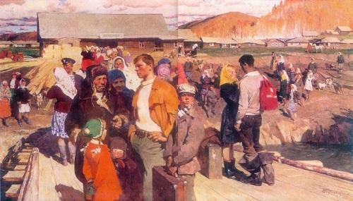 Soviet artist Yuri Podlyasky (1923-1987) On the the Ob River. 1965-1967. Canvas, oil