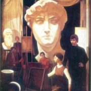 Yuri Shutov (b. 1945) in the workshop. 1975. Oil on canvas