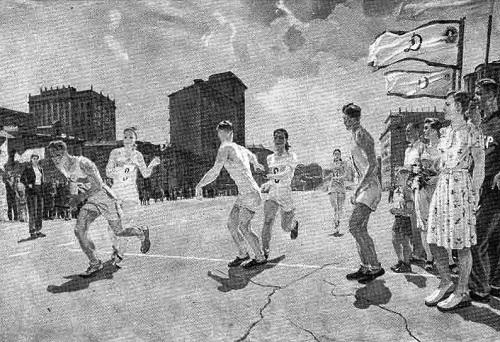 Soviet artist Alexander Deineka. Relay race. Oil. 1947