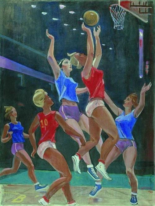 Soviet artist Alexander Deineka (1899-1969). Basketball. 1962