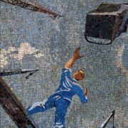 At a construction site. Cranes. Mosaic on the Mayakovskaya metro station. 1938. Detail