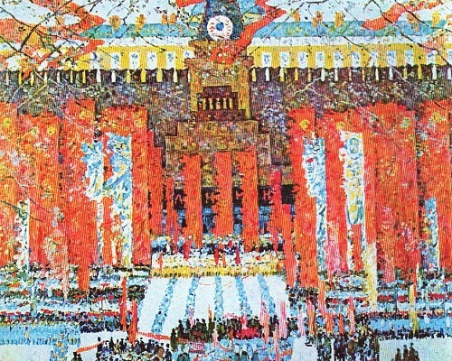 Soviet artist Boris Domashnikov (Ufa) Red Square celebration. Oil. 1975-1977