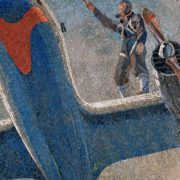 Before takeoff. Mosaic on the Novokuznetskaya metro station. 1940. Detail