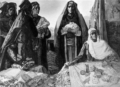 EM Adamova. Turkmen mothers to the motherland. 1967. Museum of Fine Arts of Turkmenistan, Ashgabat