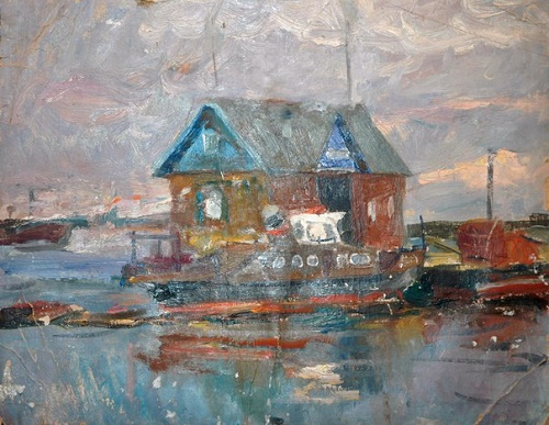 Spring flooding. Oil on canvas. Painting by Soviet artist Vladimir Gavrilov