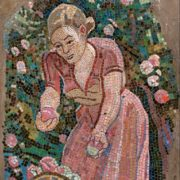 Girl with a basket. Mosaic on the Paveletskaya metro station. 1941. Detail