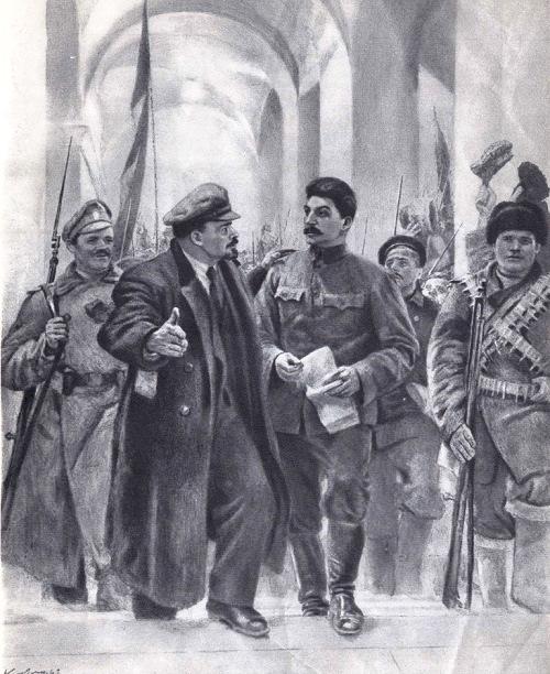 Leaders of October. Artist E.A. Kibrik