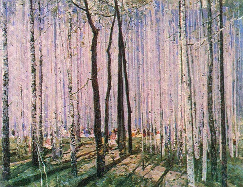 May. Birch wood. 1960. oil on canvas