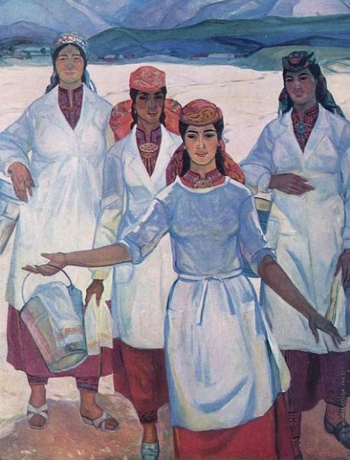 Milk women. Oil on canvas