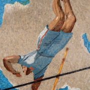 Pole vault. Mosaic on the Mayakovskaya metro station. 1938. Detail
