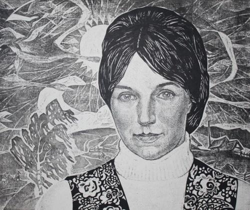 Self-portrait. Engraving on cardboard