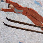 Skier. Mosaic on the Mayakovskaya metro station. 1938. Detail