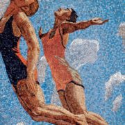 Swimmers jump. Mosaic on the Mayakovskaya metro station. 1938. Detail