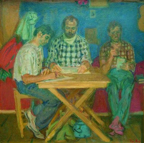 Trinity. Time students. 1978. Oil on cardboard
