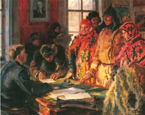 A. Moravov. The registry office. Oil. 1928. The State Tretyakov Gallery