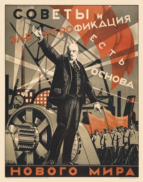 USSR Energetics Soviet Poster Art. Alexander Samokhvalov 'The Soviets and electrification are the basis of the new world'. Leningrad, 1924