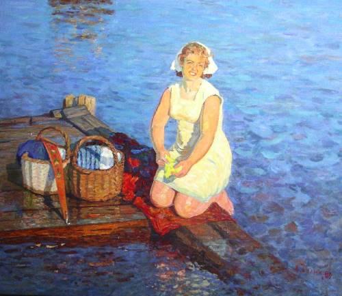 Alexey Belykh (1923). Evening on the Volga, 1989