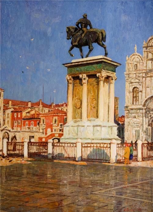 Alexey Belykh (1923). Winter sun. (Venice. Colleoni Monument) 1989