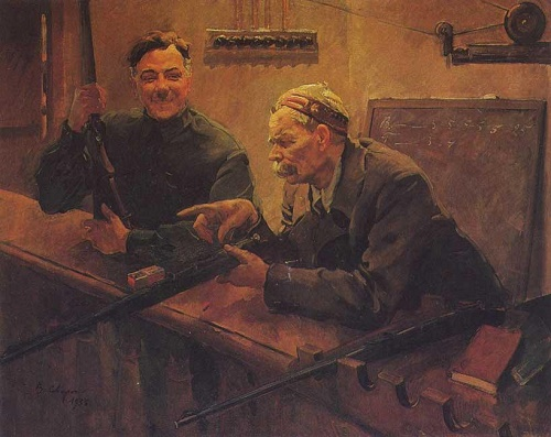Comrades KE Voroshilov and AM Gorky at a shooting range of Central Sport Club of the Army. 1932. The Central Museum of the Armed Forces