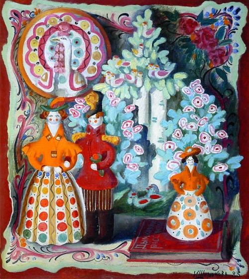 Dymka toys. 1983. Oil, canvas