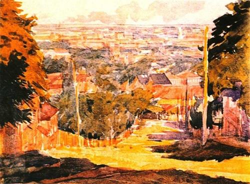 G. Vereisky. City landscape. Watercolor. 1925. The State Tretyakov Gallery