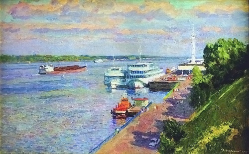 Gennady Daryin (1922 - 2012). Evening on the Volga, 1999