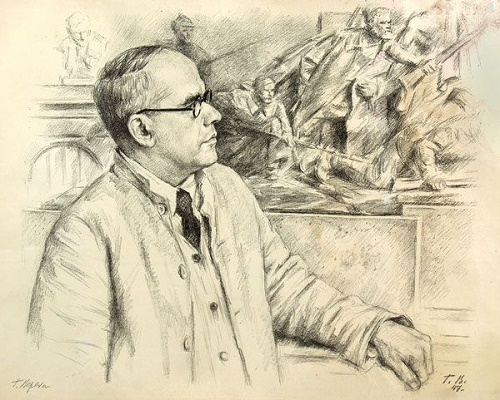 Georgy Vereisky (1886 - 1962). Portrait of an artist on the background of paintings. 1947 (lithograph)