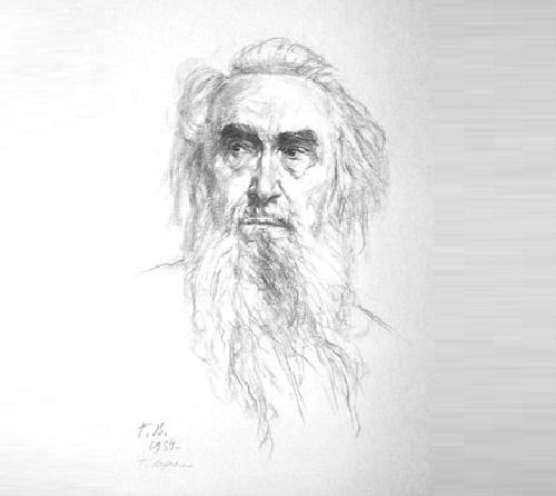 Georgy Vereisky (1886 - 1962). Sergei Konenkov, portrait. 1954 (lithograph)