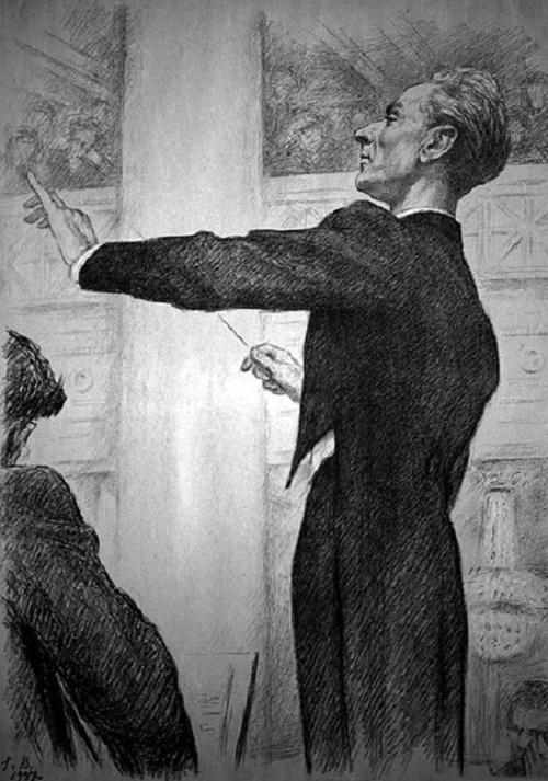 Georgy Vereisky. Portrait of EA Mravinsky, 1947 (lithograph)