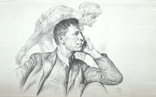 Georgy Vereisky. Portrait of Ivan Shadr 1951 (lithograph)