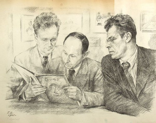Georgy Vereisky. Portrait of Kukryniksy. 1945 (lithograph)