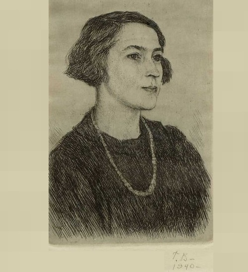 Georgy Vereisky. Portrait of a Woman, 1940 (etching)