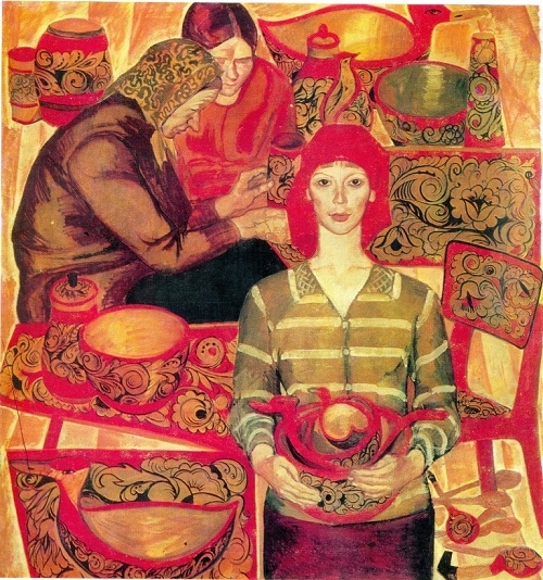 Soviet artist Inna Shirokova (b. 1937) Khokhloma. 1969. Oil on canvas