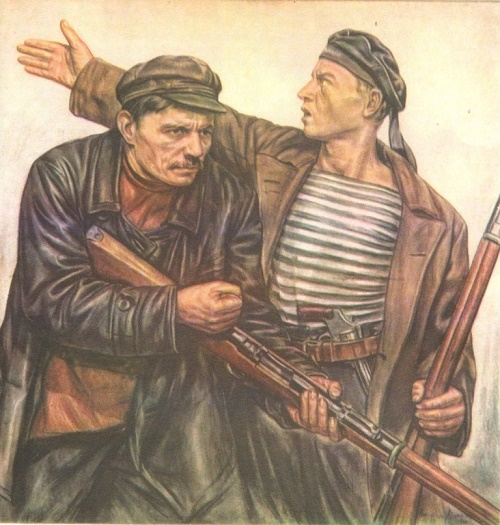 K. Maximov. The Red Guards. Pencil, sanguine. 1926
