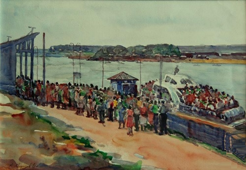 Soviet artist Konstantin Morozov (1894–1990). Festival on the river side. 1961. Watercolor on paper